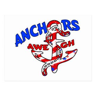 Anchors Aweigh Red White Blue Stars Stripes Postcard
