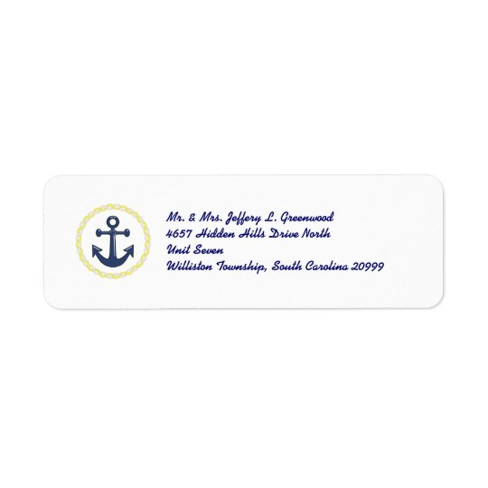 Anchors Aweigh Return Address Label