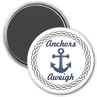 Anchors Aweigh White 7.5 Cm Round Magnet