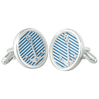 Anchors Blue and WhiteStripe Cuff Links