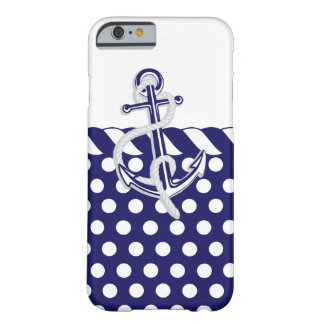 Anchors, Nautical Blue and Silver Barely There iPhone 6 Case