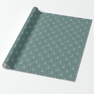 Anchors Nautical Dark Sage Green Sailor Circles Wrapping Paper