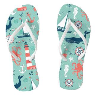 Anchors Nautical Sealife Thongs