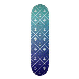 Anchors on gradient teal to blue background 21.6 cm skateboard deck