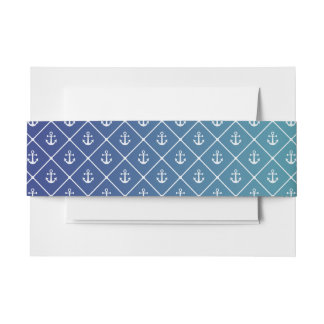 Anchors on gradient teal to blue background invitation belly band