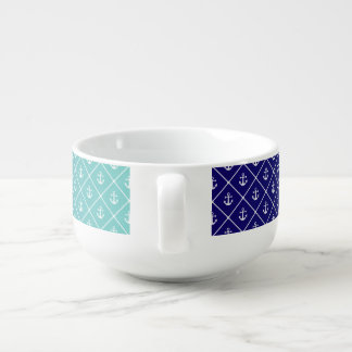 Anchors on gradient teal to blue background soup mug