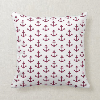 Anchors Pattern Nautical Burgundy Red Maroon White Cushion