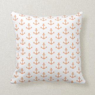 Anchors Pattern Nautical Peach Orange White Sail Throw Cushion