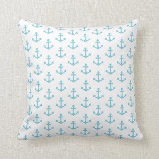 Anchors Pattern Nautical Sky Blue White Sail Cushion