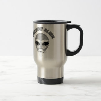 Ancient Alien Head Newsprint Travel Mug