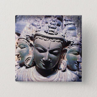 Ancient Asian 3 stone faces statue photo button