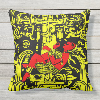 Ancient Astronaut – yellow & red version Outdoor Cushion