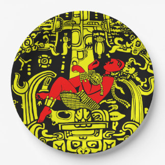 Ancient Astronaut – yellow & red version Paper Plate