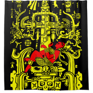 Ancient Astronaut – yellow & red version Shower Curtain