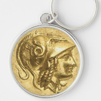 Ancient Athena Coin Silver-Colored Round Key Ring