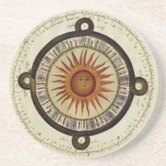 Ancient Aztec Sun Calender from Mesoamerica Coasters
