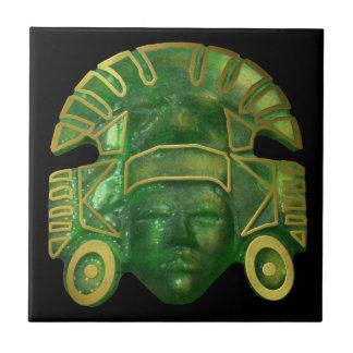 Ancient Aztec Sun Mask Small Square Tile