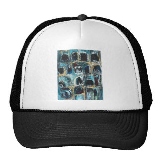 Ancient Blue Caves abstract expressionism Mesh Hats