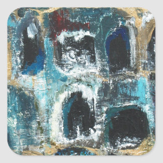 Ancient Blue Caves(abstract expressionism) Square Stickers