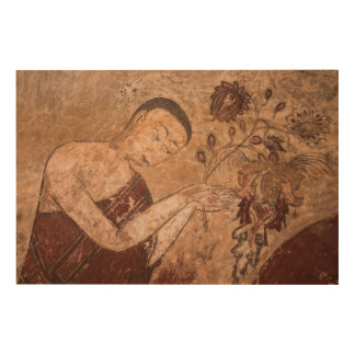 Ancient Buddhist Painting Wood Wall Art