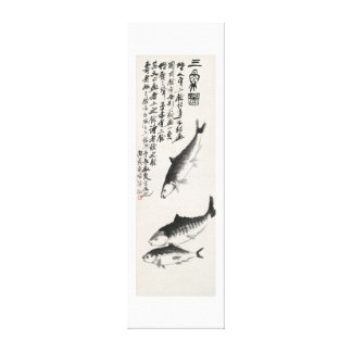Ancient China Painting-Qi Baishi-Three Carp Canvas Print