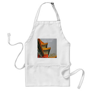 Ancient Chinese Architecture Confucius Quote Gift Adult Apron