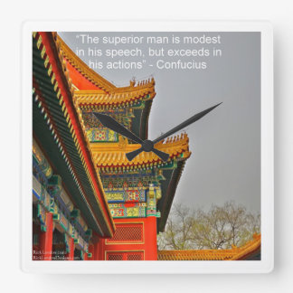 Ancient Chinese Architecture & Confucius WallClock