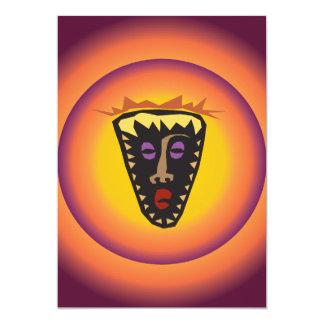 Ancient Civilization Tribal Mask Glowing Sun 5x7 Paper Invitation Card