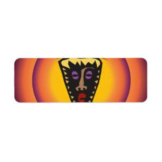 Ancient Civilization Tribal Mask Glowing Sun Return Address Label
