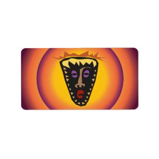 Ancient Civilization Tribal Mask Glowing Sun Address Label