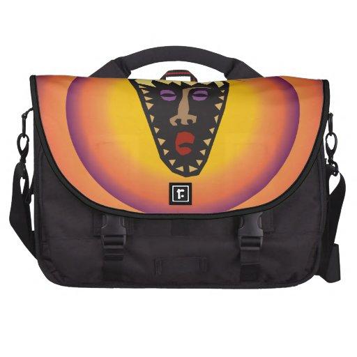 Ancient Civilization Tribal Mask Glowing Sun Laptop Commuter Bag