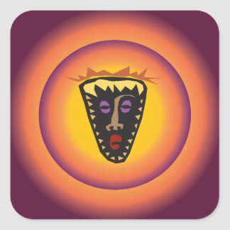 Ancient Civilization Tribal Mask Glowing Sun Square Sticker