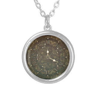 Ancient clock faces round pendant necklace