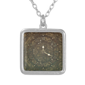 Ancient clock faces silver plated necklace