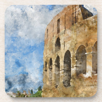 Ancient Colosseum in Rome Italy Beverage Coasters