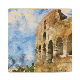 Ancient Colosseum in Rome Italy Maple Wood Coaster