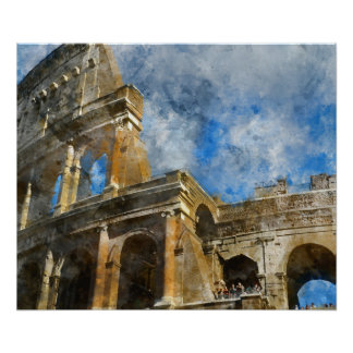 Ancient Colosseum in Rome Italy Poster