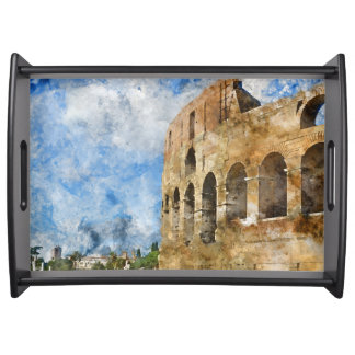 Ancient Colosseum in Rome Italy Serving Tray