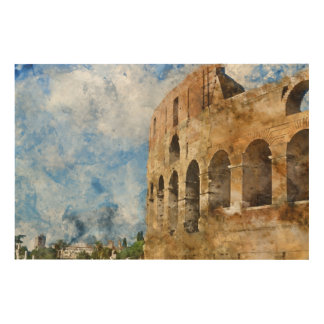 Ancient Colosseum in Rome Italy Wood Print