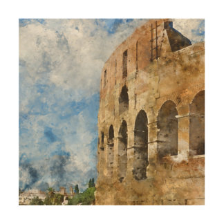 Ancient Colosseum in Rome Italy Wood Wall Art