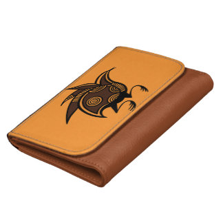 Ancient Cypriot bird motif faux leather wallet