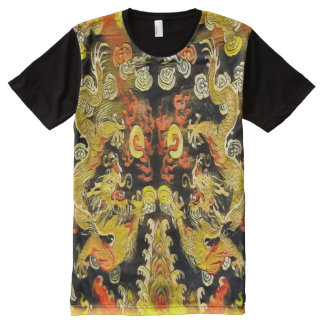 Ancient Double Dragon Scroll All-Over Print T-Shirt