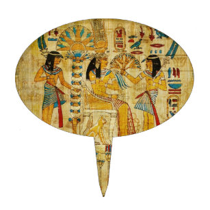 Ancient Egypt Tapestry Scroll Heirogliphics Cake Toppers