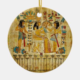 Ancient Egypt Tapestry Scroll Heirogliphics Ceramic Ornament