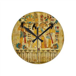 Ancient Egypt Tapestry Scroll Heirogliphics Round Clock