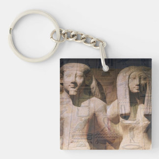Ancient Egyptian Couple Hieroglyphics Double-Sided Square Acrylic Key Ring