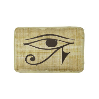Ancient Egyptian Eye of Horus on Faux Papyrus Bath Mats