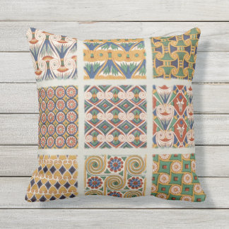 Ancient Egyptian floral Outdoor Throw Pillow