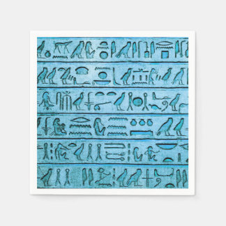 Ancient Egyptian Hieroglyphs Blue Disposable Serviettes