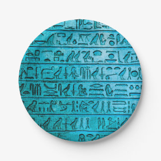 Ancient Egyptian Hieroglyphs Blue Paper Plate